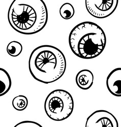 doodle eye eyeball pattern seamless background vector image