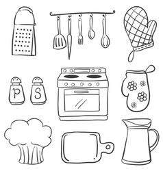 Doodle of equipment kitchen set vector