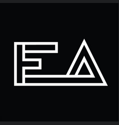 Ea logo monogram with line style negative space vector