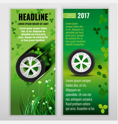 Ecological tire banners vector