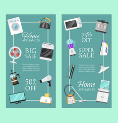 electronic household appliances set banners vector image