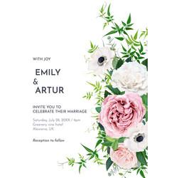 Elegant editable floral watercolor wedding invite vector