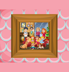 family in picture frame vector image