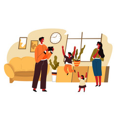 family spending time at home man taking photo vector image