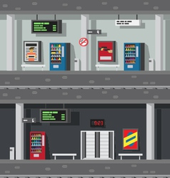 Flat design of underground subway vector