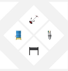 Flat icon farm set of barbecue container pump vector