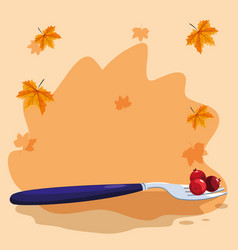fork and cranberry design vector image