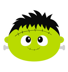 Frankenstein zombie monster round face icon happy vector
