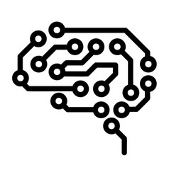 Future brain icon outline style vector