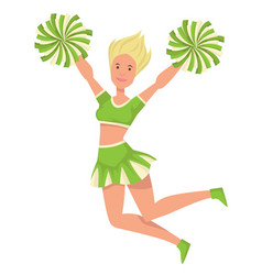 Girl cheerleader in uniform with pompoms jumping vector