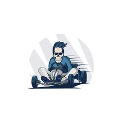 Go kart race skull vector