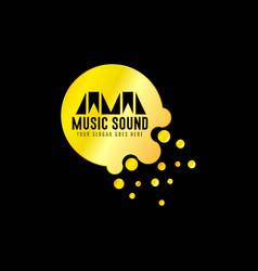 golden music emblem with black background vector image