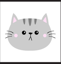 Gray cat sad head face silhouette icon cute vector