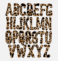 hand drawn leopard font creative type for card vector image