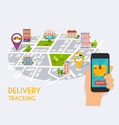 Hand holding mobile smart phone with app delivery vector