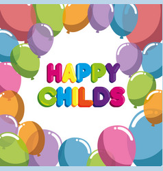 happy childs label with balloons air party vector image