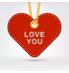Heart Label tag hanging on golden chain vector image