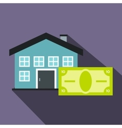 House and banknote icon flat style vector image