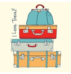 I love travel Travel concept with vintage vector