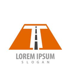 initial letter t road font concept design symbol vector image