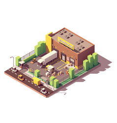 Isometric low poly warehouse building vector