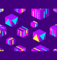 isometric squares seamless pattern geometric vector image