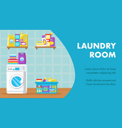 laundry room banner layout with text space vector image