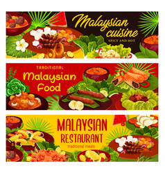 malaysian restaurant exotic meals banners vector image