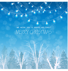 merry christmas card on winter forrest landscape vector image