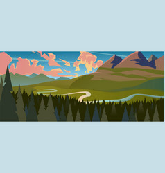 modern landscape background trees and mountain vector image