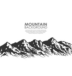 mountain range silhouette isolated on white vector image