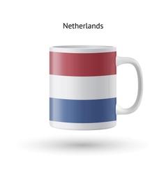 Netherlands flag souvenir mug on white background vector