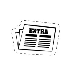 newspaper news extra cutted line vector image