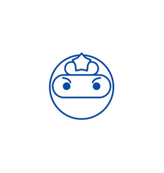 ninja emoji line icon concept ninja emoji flat vector image