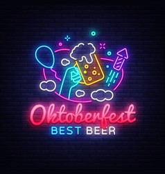 oktoberfest greeting card oktobefest neon sign vector image