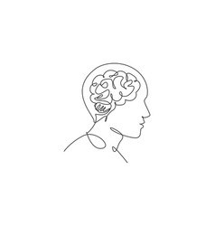 one continuous line drawing human head with vector image