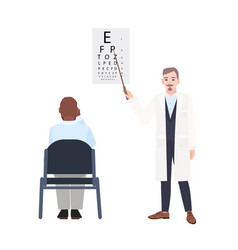 Ophthalmologist with pointer standing beside eye vector