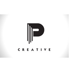 P logo letter with black lines design line letter vector