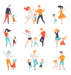 parents dancing with their children set kids vector image