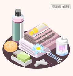 Personal hygiene isometric composition vector