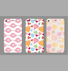 phone case collection closeup beautiful lips of vector image