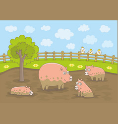 pigs family vector image