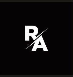 Ra logo letter monogram slash with modern logo vector