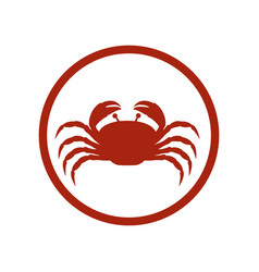 red circular ornament with crab inside vector image