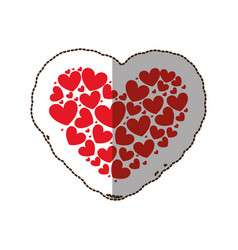 red heart with little hearts inside vector image