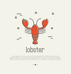 Red lobster thin line icon seafood delicacy vector