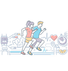running - colorful line design style vector image