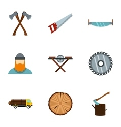 Sawing icons set flat style vector