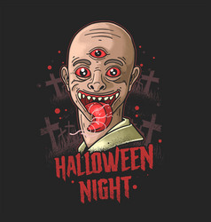 Scary ghost haunting halloween night vector