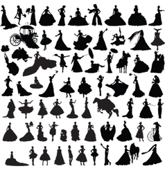 Set of silhouettes of brides vector